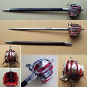 Nickel Finish Scottish Basket Hilt Broadsword & Scabbard